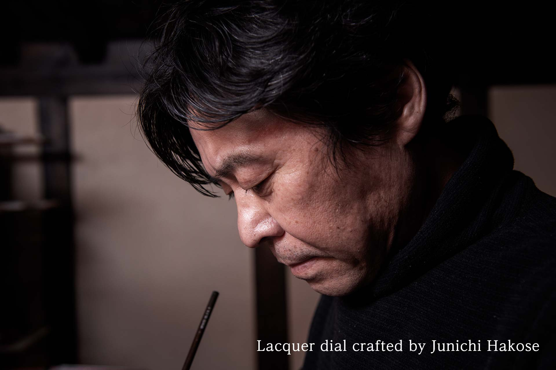 Lacquer dial crafted by Junichi Hakose